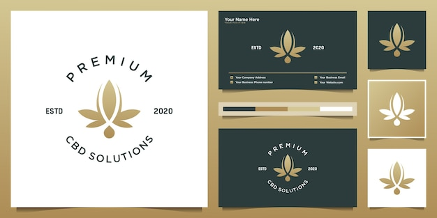 Folha e gota de luxo com forro. óleo cbd premium, maconha, design de logotipo de cannabis e cartão de visita.