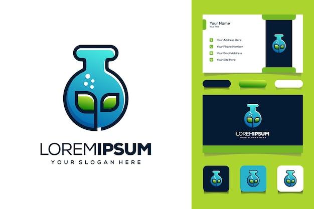 Folha e logotipo do laboratório modelo de cartão de visita