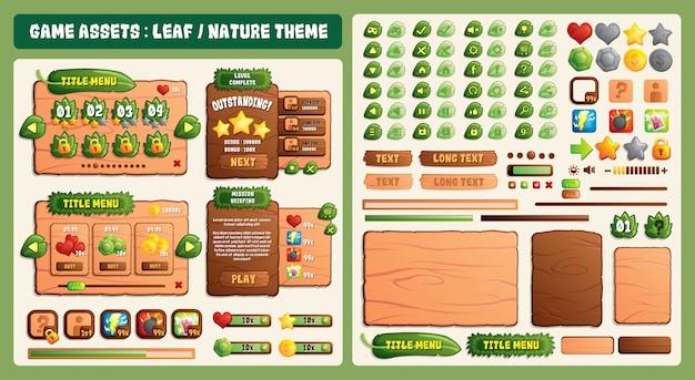 Folha e natureza tema ativos do jogo