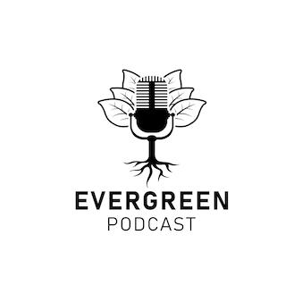 Folha e raiz do microfone do microfone para vetor de design de logotipo de podcast empresarial