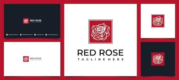 Folha elegante criativa e design de logotipo rosa de flor para beleza