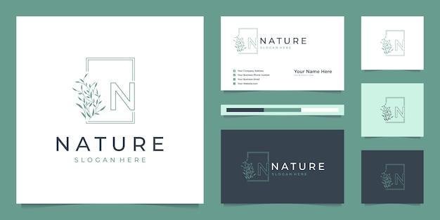 Folha elegante logotipo design linha arte.