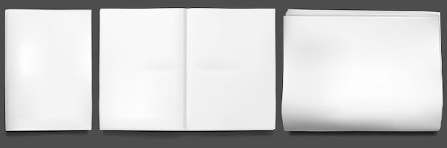 Folha em branco de revistas de tablóide dobrada ao meio