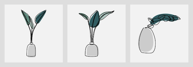 Folha em um vaso oneline linha contínua arte definida vetor premium