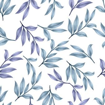Folha floral bonita padrões aquarela folhas azuis