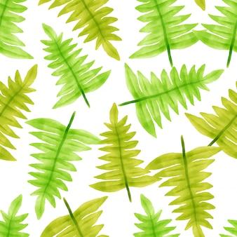 Folha floral linda padrões aquarela folhas verdes