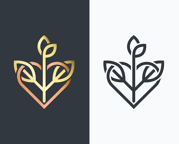 Folha, forma dourada e monocromática com coração e planta.