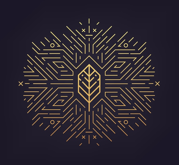 Folha, forma dourada, ícone linear. emblema abstrato, conceito, elemento de planta logotipo logotipo