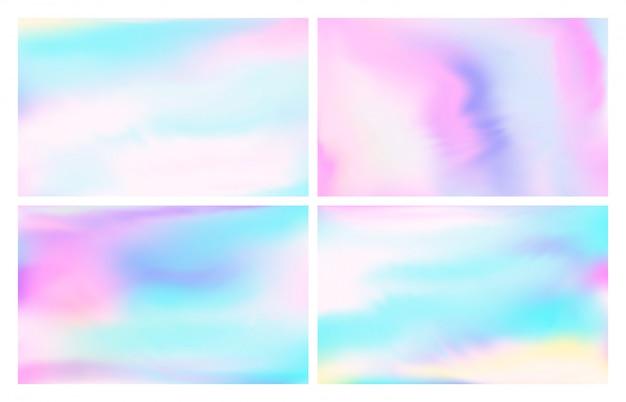 Folha holográfica iridescente. céu de tons pastel de fantasia, arco-íris iridescente opala e fundo de ilustração de papel de parede colorido mágico
