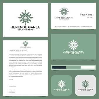 Folha logotipo e cartão de visita premium