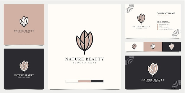 Folha logotipo estilo linear abstrato com cartão de visita