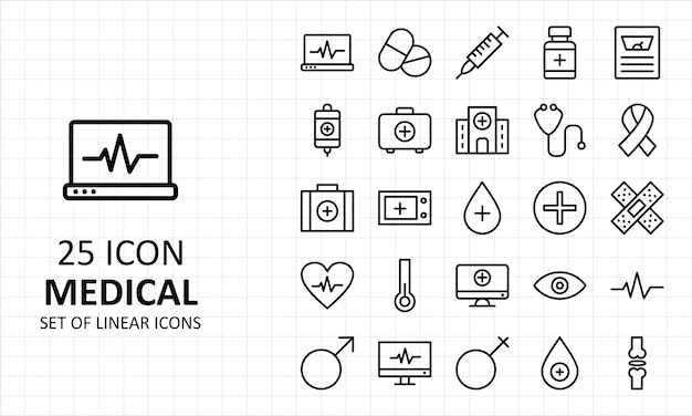 Folha médica ícones pixel perfeito