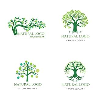 Folha natural e abstrata de design de logotipo de árvore verde