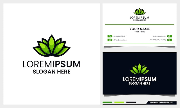 Folha ou logotipo de folhas abstrato e moderno com modelo de design de cartão de visita