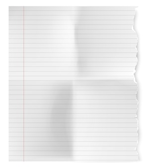 Folha rasgada vintage realista de papel de caderno.