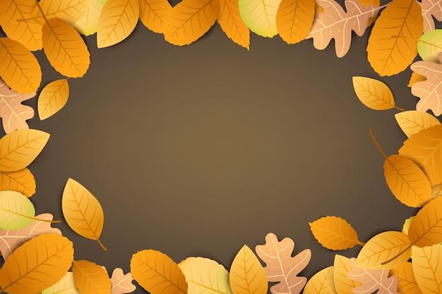 Folha seca de outono abstrato caindo sobre um fundo marrom