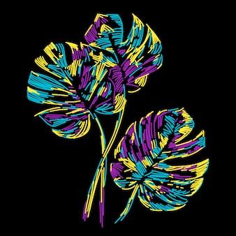 Folha tropical de verão colorido abstrato