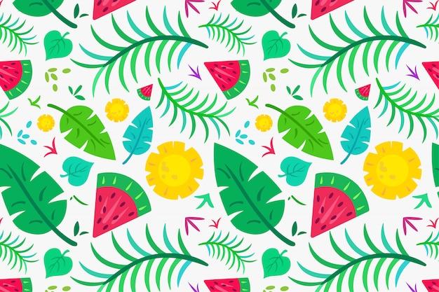 Folha tropical de verão e padrão de frutas