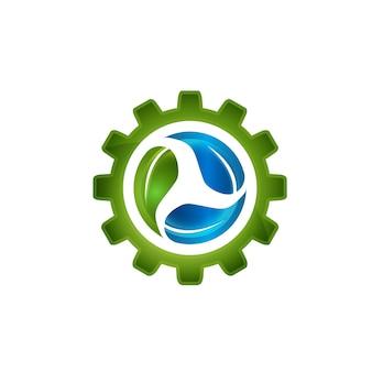 Folha verde abstrata dentro engrenagem símbolo elemento vector design ecologia símbolo