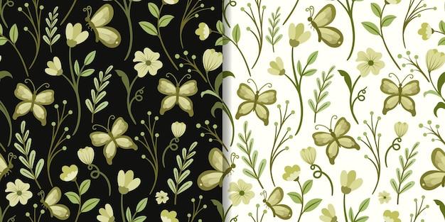 Folha verde abstrata e padrão sem emenda de borboleta