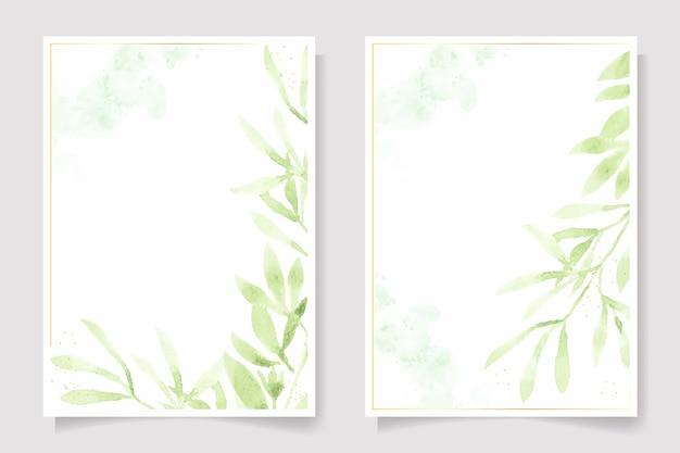 Folha verde aquarela e modelo de cartão de convite de casamento com moldura de glitter dourado
