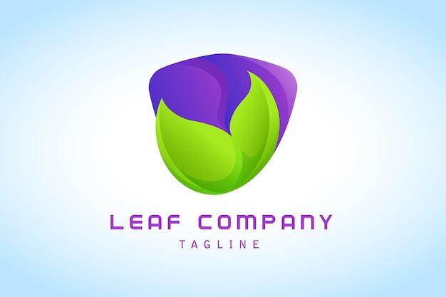 Folha verde com logotipo gradiente de escudo roxo