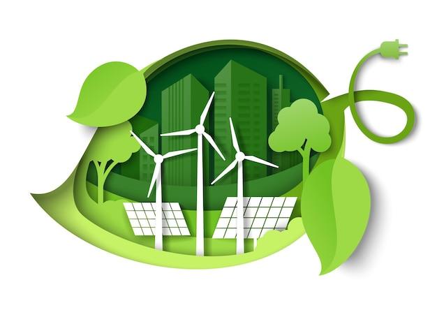 Folha verde com moinhos de vento, painéis solares, árvores, cidade, edifício, silhuetas, vetorial, papel, corte, illustration ...