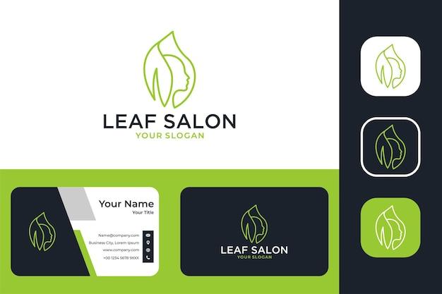 Folha verde com rosto para design de logotipo de salão de beleza e cartão de visita
