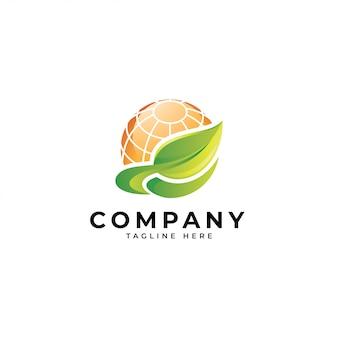 Folha verde da energia 3d colorida e logotipo do painel solar do sol