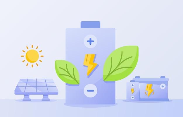 Folha verde de economia de energia ecológica na bateria de fundo branco de energia solar