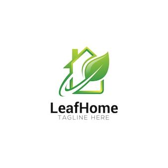 Folha verde e logotipo em casa