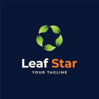 Folha verde e modelo de design de logotipo de estrela ecológica