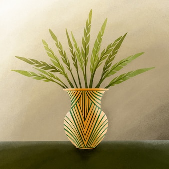 Folha verde na ilustração do vaso de ouro