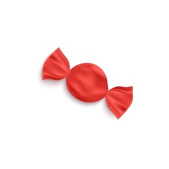 Folha vermelha redonda de caramelo ou bombom, realista. modelo de embalagem de doces em branco para a identidade da marca.