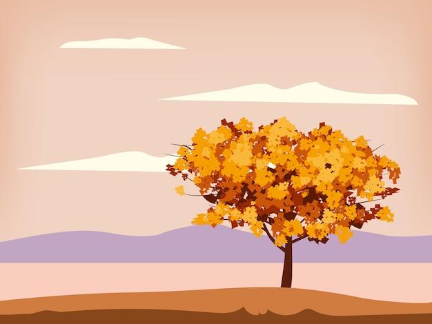 Folhagem amarelo alaranjado da árvore do cenário da paisagem do outono, lago, parque, horizonte da natureza