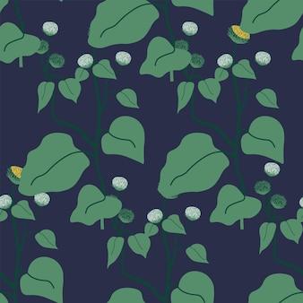Folhagem de botânica com folhas grandes padrão uniforme