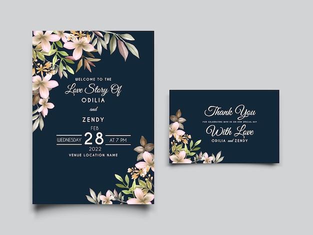 Folhagem de cartão de casamento com ilustração floral de hortaliças desenhada à mão