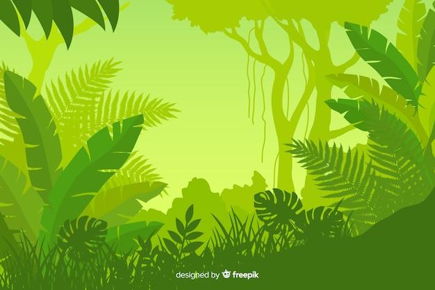 Folhagem, de, floresta tropical, paisagem