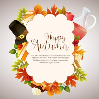 Folhagem de nuvem outono feliz com xarope de bolo e chapéu