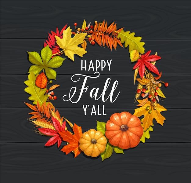 Folhagem de outono de bordo, carvalho, olmo, castanha, abóbora, trigo e bagas de outono