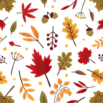 Folhagem de outono mão desenhada vetor sem costura padrão. textura decorativa de folhas e bagas de árvore diferente. folhagem de outono, ilustração plana de floresta flora. têxtil floral, design de papel de parede.