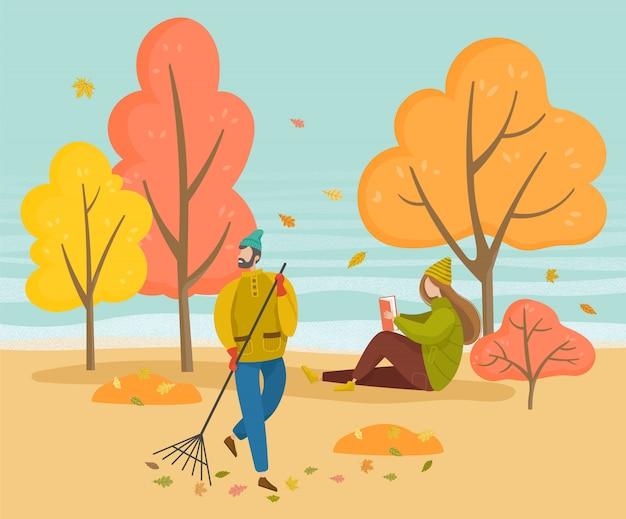 Folhagem de varredura de homem, menina ler livro no parque de outono