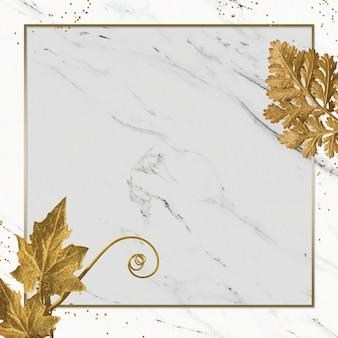 Folhagem dourada luxuosa com moldura retangular