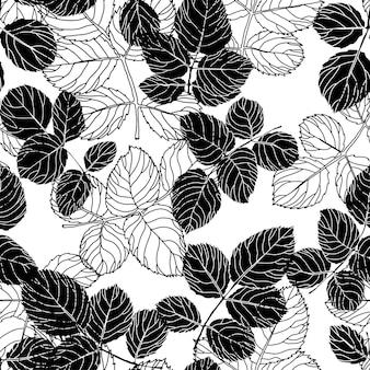 Folhagem e padrão de silhueta de folhas de flores