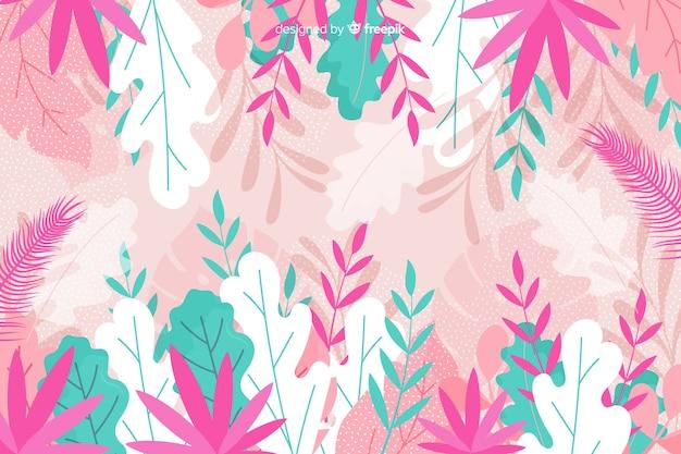 Folhagem em tons de azul e rosa fundo