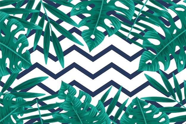Folhagem tropical com fundo geométrico