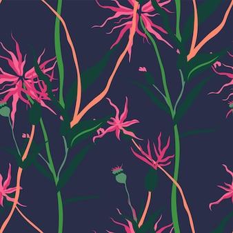 Folhagem tropical e padrão de plantas com flores
