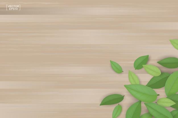 Folhas abstratas do verde no fundo de madeira marrom da textura.