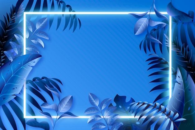 Folhas azuis realistas com moldura de néon