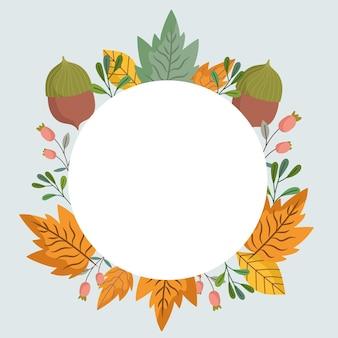 Folhas, bolotas, folhagem, botânica, decoração, moldura redonda, ilustração